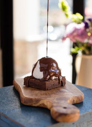 Chocolate on Gelato Dessert